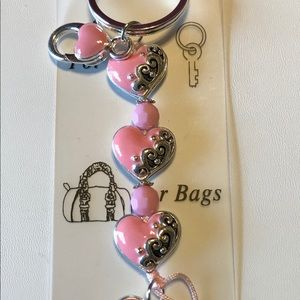 Key Chain With Pink Hearts